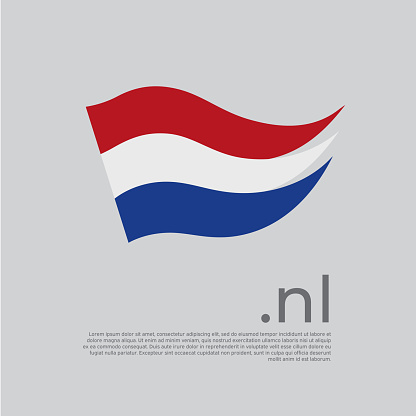 Netherlands flag brush strokes. Holland flag colors stripes on white background. Vector stylized national poster design with nl domain, place for text. Tricolor. State dutch patriotic banner, cover
