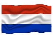 Netherlands Flag Icon. National Flag Banner. Cartoon Vector illustration.