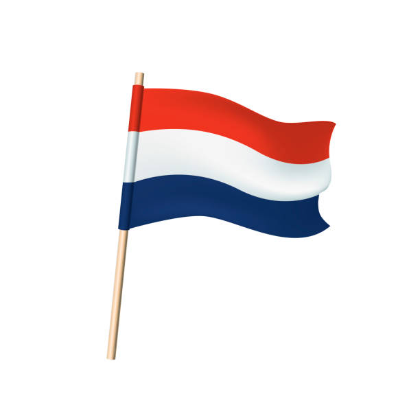 netherlands flag on white background - holandia stock illustrations
