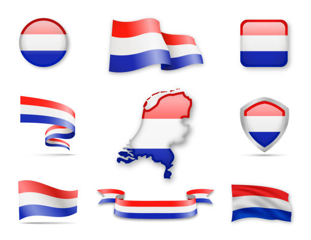 netherlands flags collection. - holandia stock illustrations