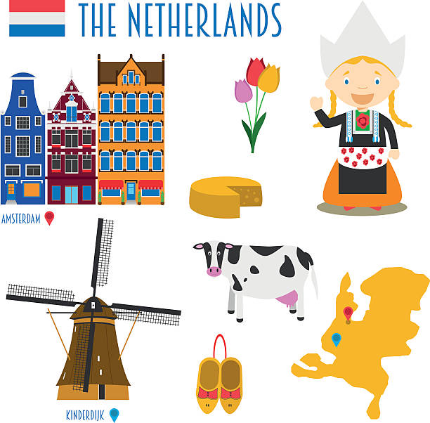 netherlands flat icon set travel and tourism concept. vector illustration - dutch traditional clothing stock illustrations, clip art, cartoons, & icons