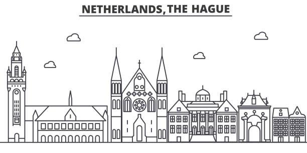 stockillustraties, clipart, cartoons en iconen met nederland, 's-gravenhage het platform lijn skyline illustratie. lineaire vector stadsgezicht met beroemde bezienswaardigheden, de bezienswaardigheden van de stad, iconen ontwerp. landschap met bewerkbare lijnen - den haag