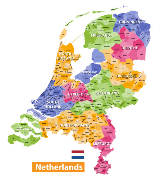 netherlands high detailed local municipalities map colored by provinces. all elements are separated in detachable and labeled layers. vector - holandia stock illustrations