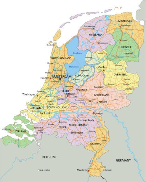 stockillustraties, clipart, cartoons en iconen met nederland-zeer gedetailleerde bewerkbare politieke kaart. - eindhoven