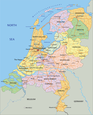 Netherlands - Highly detailed editable political map.