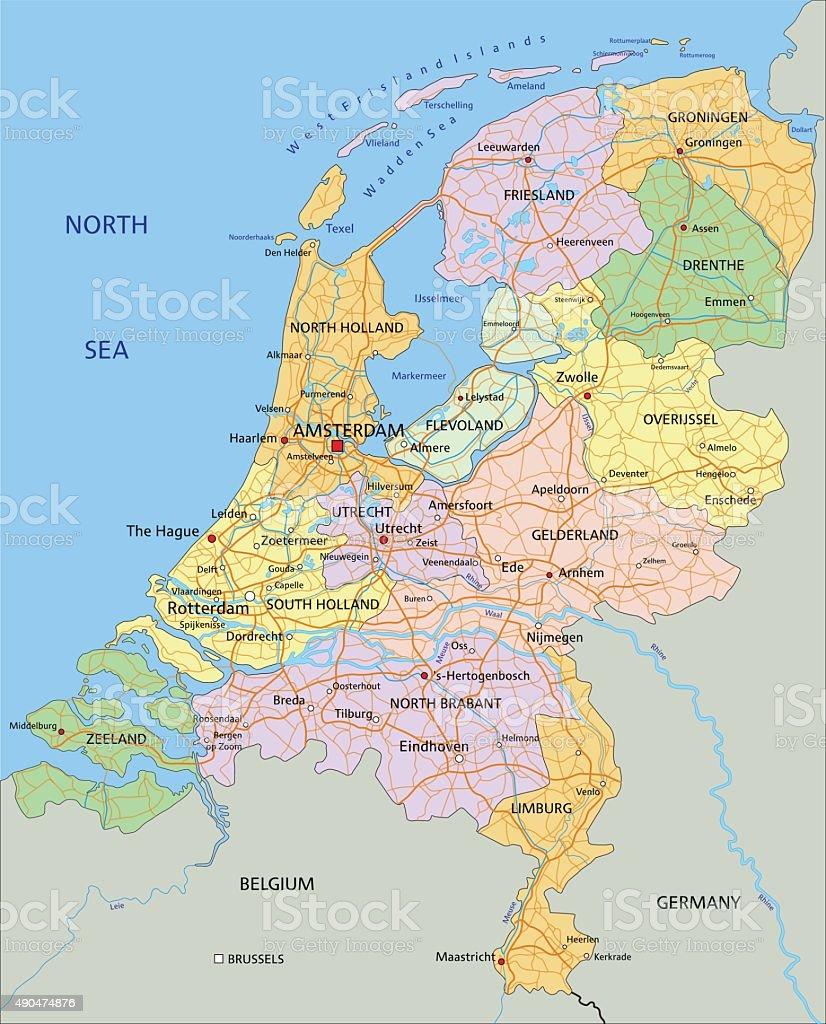 Netherlands - Highly detailed editable political map. vector art illustration
