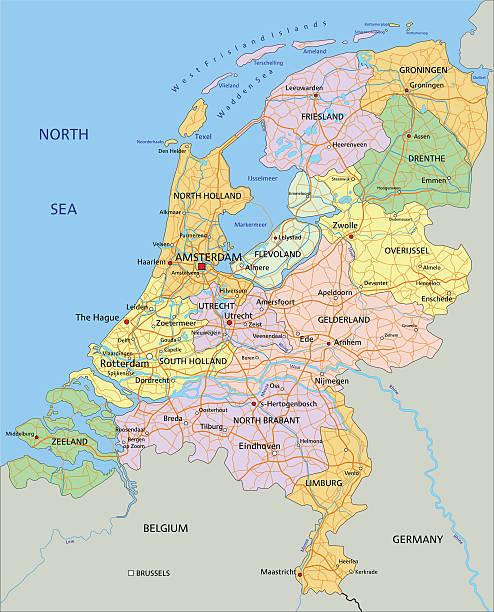 niederlande – sehr detaillierte bearbeitbare politische karte. - niederlande stock-grafiken, -clipart, -cartoons und -symbole