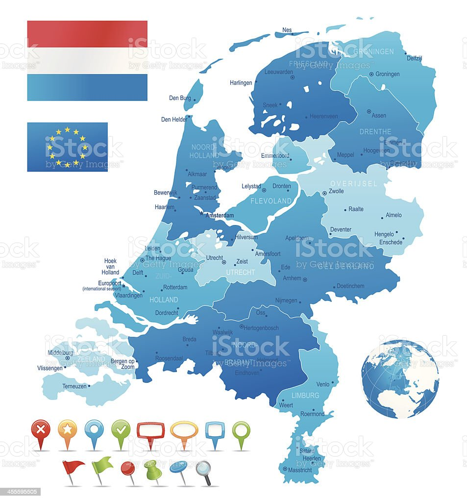 Netherlands - highly detailed map royalty-free stock vector art