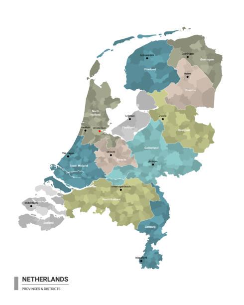 stockillustraties, clipart, cartoons en iconen met nederland higt gedetailleerde kaart met onderverdelingen. administratieve kaart van nederland met districten en stedennaam, gekleurd door staten en administratieve districten. vectorillustratie. - den haag