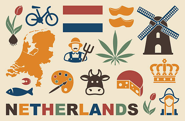 netherlands icons - dutch traditional clothing stock illustrations, clip art, cartoons, & icons