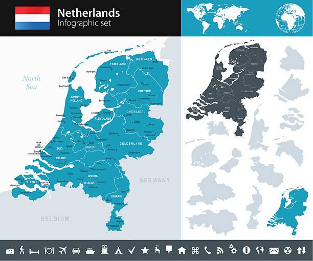 netherlands - infographic map - illustration - hollanda stock illustrations