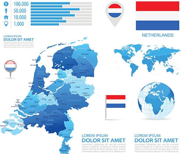 stockillustraties, clipart, cartoons en iconen met netherlands - infographic map - illustration - den haag