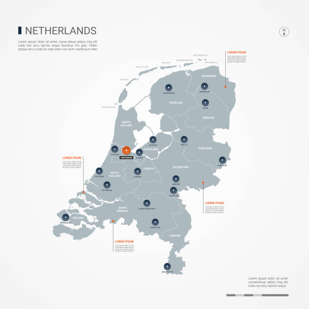 netherlands infographic map vector illustration. - holandia stock illustrations