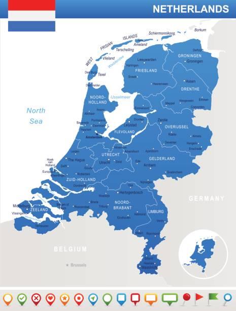 niederlande - karte und flagge abbildung - niederlande stock-grafiken, -clipart, -cartoons und -symbole