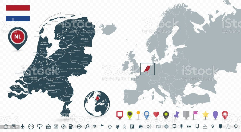 netherlands map and netherlands location on the europe map isolated