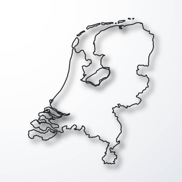 netherlands map - black outline with shadow on white background - holandia stock illustrations