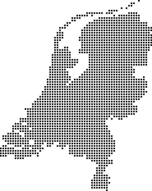 stockillustraties, clipart, cartoons en iconen met nederland kaart stippen, gestippelde nederland kaart vector omtrek, zeer gedetailleerd korrelig nederland kaart in zwart-wit afbeelding achtergrond - den haag