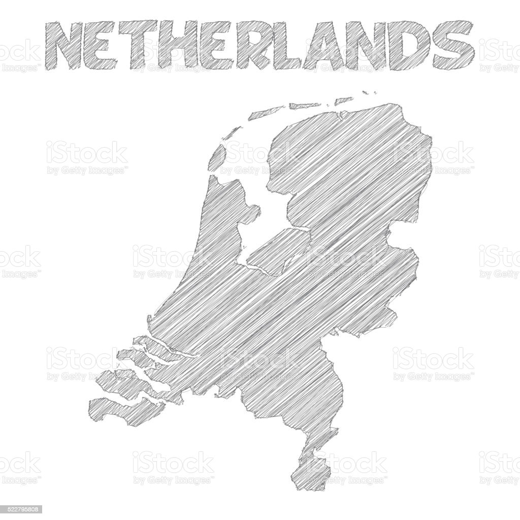 Netherlands Map Hand Drawn On White Background stock vector art