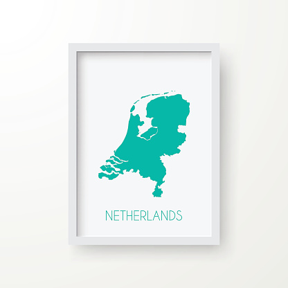 Netherlands Map in Frame on White Background