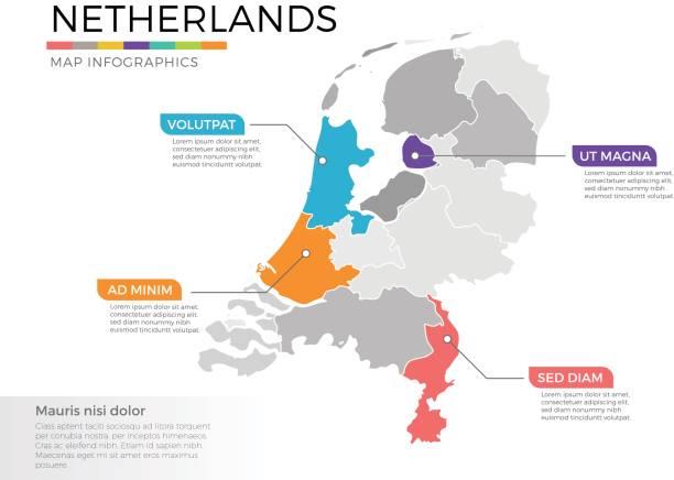 niederlande kartenvorlage infografiken vektor mit zeiger marken und regionen - niederlande stock-grafiken, -clipart, -cartoons und -symbole
