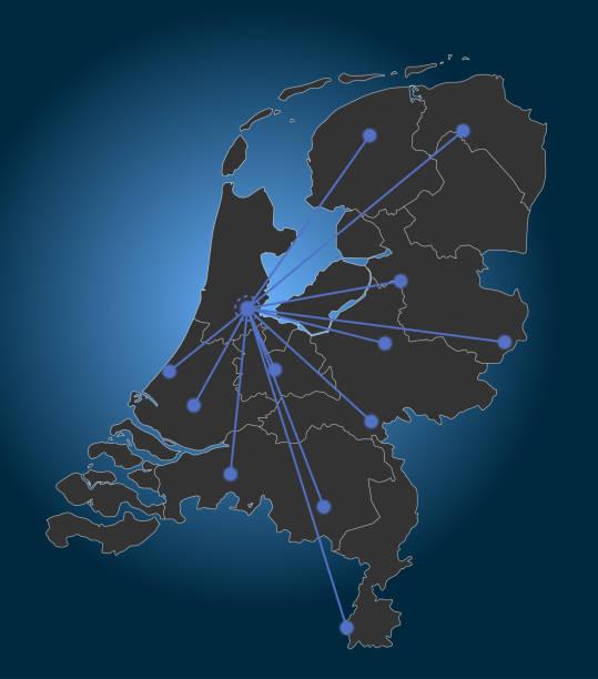 stockillustraties, clipart, cartoons en iconen met nederland kaart, belangrijkste steden, amsterdam centrum - eindhoven