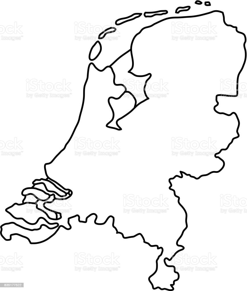 De kaart van Nederland van zwarte contour bochten van vectorillustratie.vectorkunst illustratie