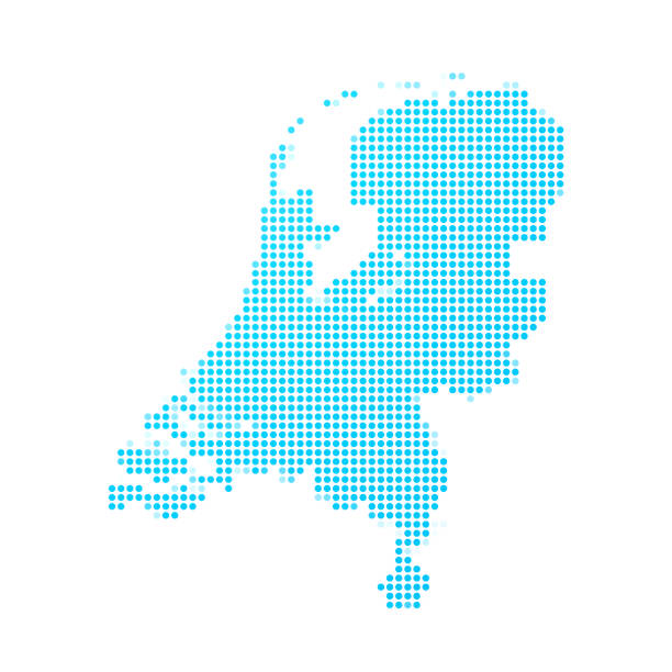 netherlands map of blue dots on white background - holandia stock illustrations