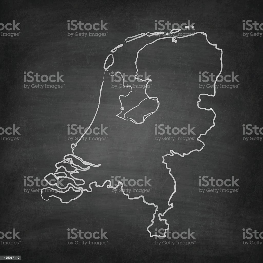 Netherlands Map on Blackboard - Chalkboard​​vectorkunst illustratie