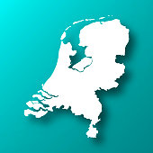 White map of Netherlands isolated on a trendy color, a blue green background and with a dropshadow. Vector Illustration (EPS10, well layered and grouped). Easy to edit, manipulate, resize or colorize.