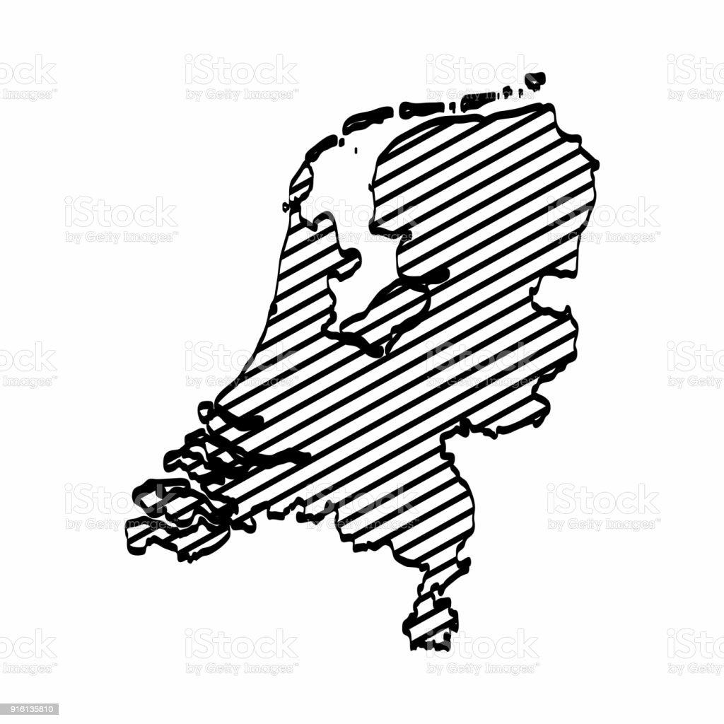 Niederlande Karte Umriss.Niederlande Karte Umriss Grafik Freihandzeichnen Auf Weißem
