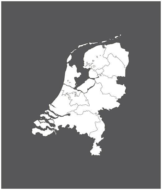 stockillustraties, clipart, cartoons en iconen met netherlands map outline vector in gray background - den haag