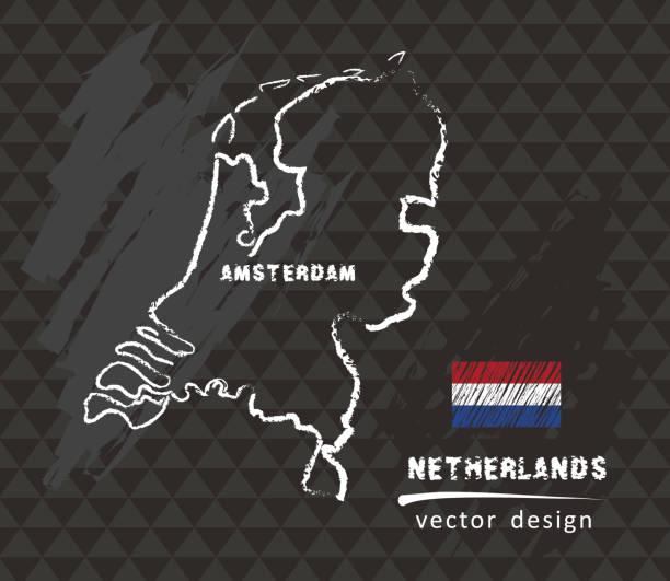 stockillustraties, clipart, cartoons en iconen met nederland kaart, vector tekening op zwarte achtergrond - netherlands map