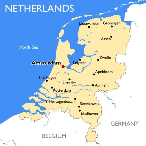 stockillustraties, clipart, cartoons en iconen met kaart van nederland - eindhoven