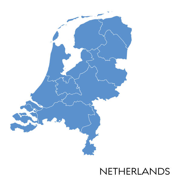 netherlands map - holandia stock illustrations