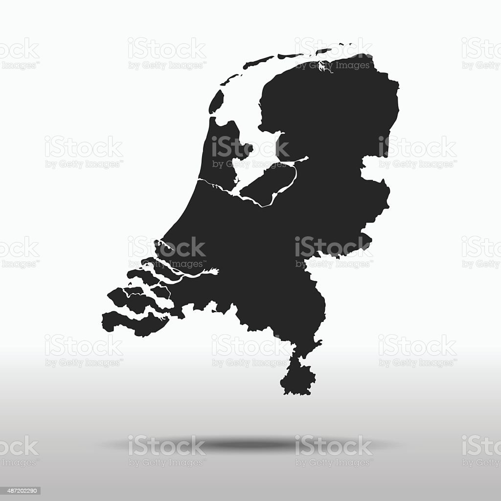 Royalty Free Black Abstract Map Of Netherlands Clip Art Vector