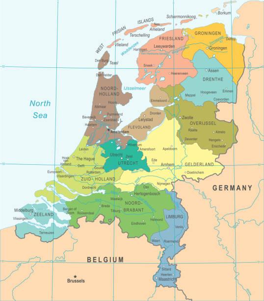 landkarte niederlande - vektor-illustration - niederlande stock-grafiken, -clipart, -cartoons und -symbole
