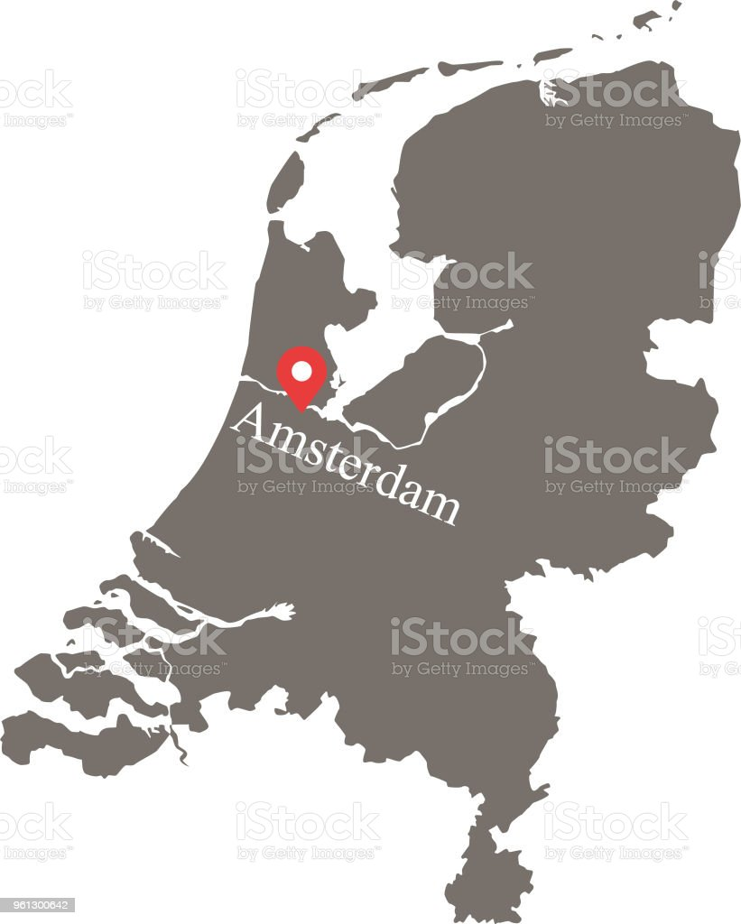 Netherlands Map Vector Outline With Capital Location And Name ...
