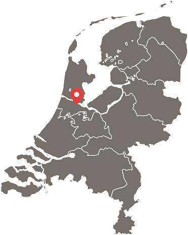 Niederlande Karte Umriss.Niederlande Karte Vektor Umriss Mit Provinzen Oder Staaten Grenzen Und Hauptstadt Lage Amsterdam Im Grauen Hintergrund Hochdetaillierte Genaue Karte
