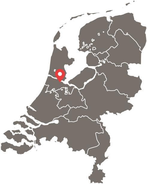 stockillustraties, clipart, cartoons en iconen met nederland kaart vector overzicht met provincies of staten grenzen en kapitaal locatie, amsterdam, in de grijze achtergrond. zeer gedetailleerde nauwkeurige kaart van holland - eindhoven