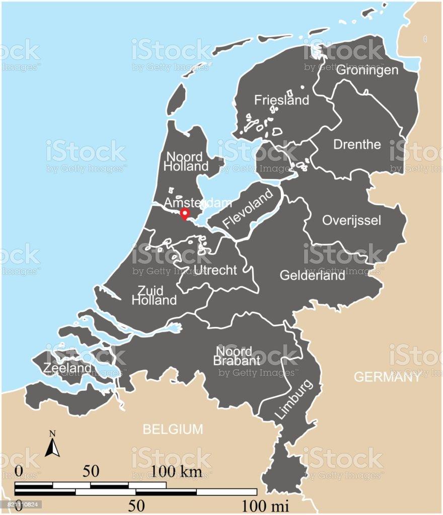 Niederlande Karte Umriss.Niederlande Karte Vektor Umriss Mit Skalen Staaten Oder Provinzen