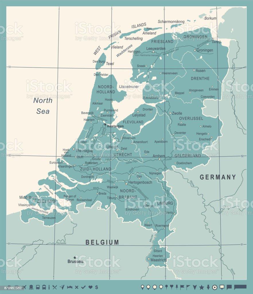 Netherlands Map Vintage Vector Illustration Stock Vector Art & More ...