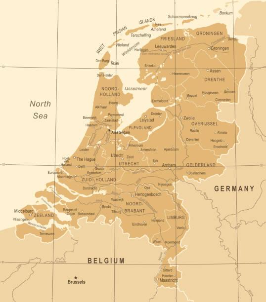 stockillustraties, clipart, cartoons en iconen met nederland kaart - vintage vectorillustratie - den haag