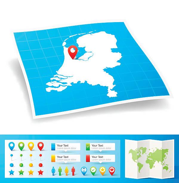 niederlande karte mit lage pins, isoliert auf weißem hintergrund - niederlande stock-grafiken, -clipart, -cartoons und -symbole
