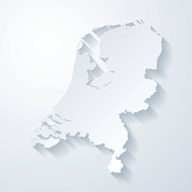 netherlands map with paper cut effect on blank background - holandia stock illustrations