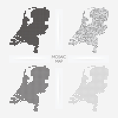Netherlands maps - Mosaic squarred and dotted