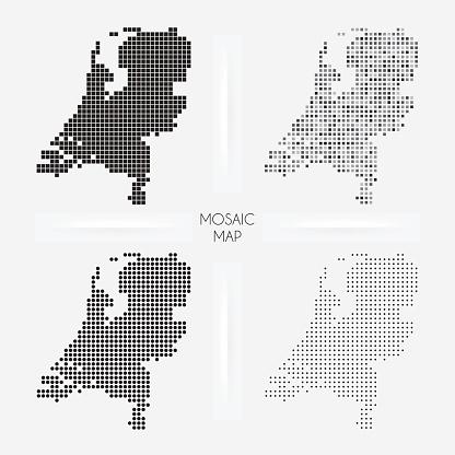Netherlands Maps Mosaic Squarred And Dotted Stok Vektör Sanatı & Amsterdam'nin Daha Fazla Görseli