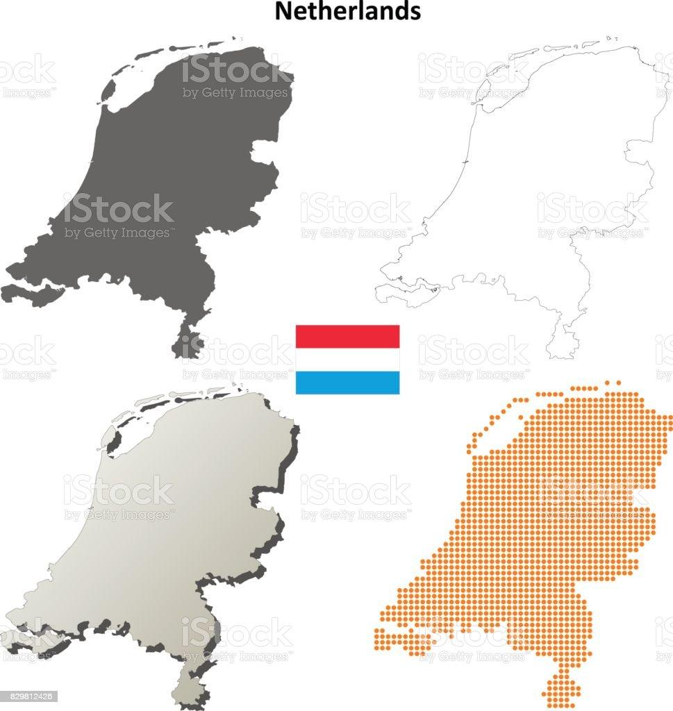 Niederlande Karte Umriss.Niederlande Outline Karte Gesetzt Stock Vektor Art Und Mehr Bilder