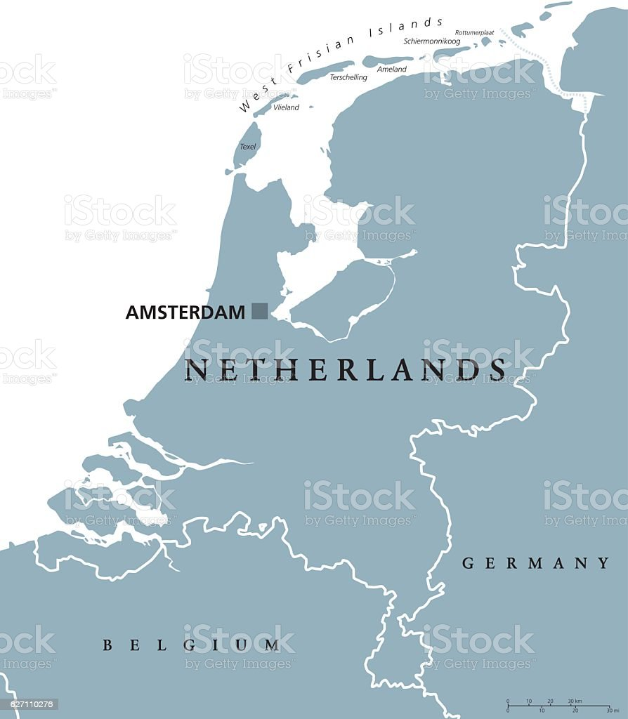 Netherlands political map gray colored​​vectorkunst illustratie