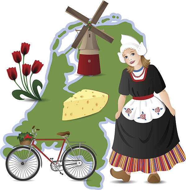 netherlands related drawings and map - dutch traditional clothing stock illustrations, clip art, cartoons, & icons