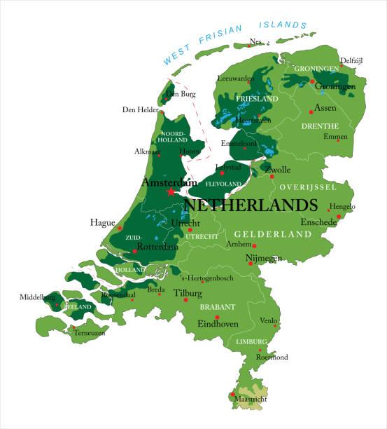 stockillustraties, clipart, cartoons en iconen met relief kaart van nederland - eindhoven